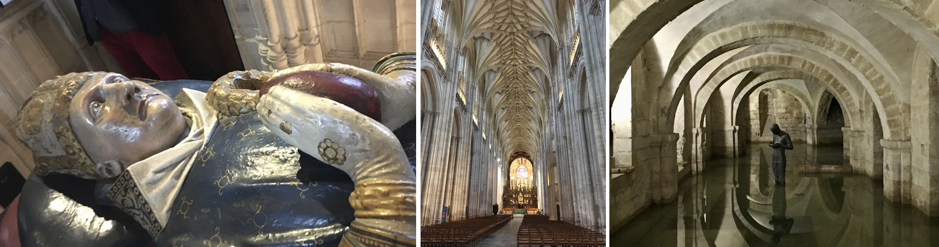 Cathedral Waynflete Chantry (L); Centre: Cathedral Nave (C); Right: Cathedral Crypt (R) (statue in water)